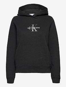 GLITTER MONOGRAM HOODIE - hoodies - ck black