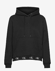 CK LOGO TRIM HOODIE - hupparit - ck black