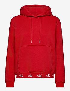 CK LOGO TRIM HOODIE - hoodies - red hot