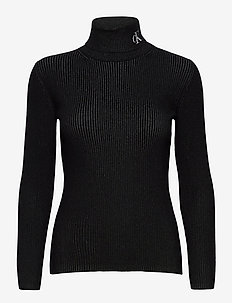 RIB ROLL NECK WITH CK - turtlenecks - ck black / bright white