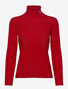 RIB ROLL NECK WITH CK - turtlenecks - red hot / bright white