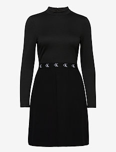 LOGO ELASTIC DRESS - midi kjoler - ck black