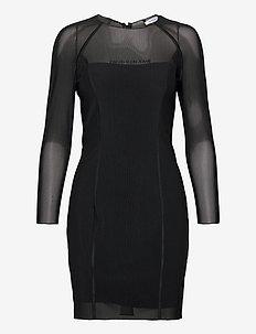 BODY-CON MESH DOUBLE LAYER DRESS - robes courtes - ck black