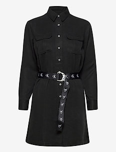 UTILITY SHIRT DRESS - midi kjoler - ck black