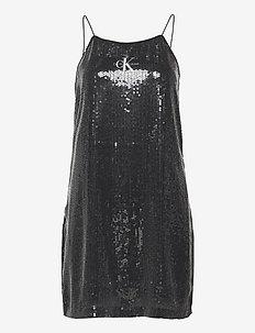 SEQUIN LOGO STRAP DRESS - paljettkjoler - ck black