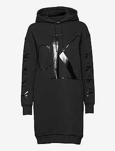 ECO CK LOGO HOODIE DRESS - korte kjoler - ck black
