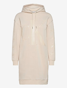 ECO CK LOGO HOODIE DRESS - korte kjoler - soft cream