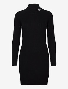 ROLL NECK SWEATER DRESS - strikkede kjoler - ck black / black