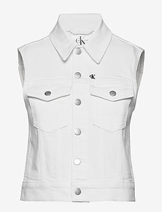 DENIM VEST - gilets - denim white