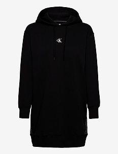 OUTLINE LOGO DRESS - bluzy z kapturem - ck black