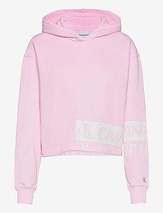 MIRRORED LOGO HOODIE - hettegensere - pearly pink / bright white