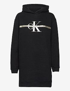 GOLD MONOGRAM HOODIE DRESS - vardagsklänningar - ck black