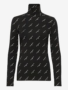 GOLD LOGO STRETCH ROLL NECK - topy z długimi rękawami - ck black