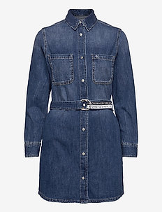 RELAXED SHIRT DRESS - shirt dresses - denim dark