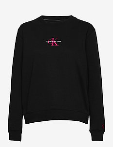 MONOGRAM LOGO CREW NECK - sweatshirts - ck black/party pink