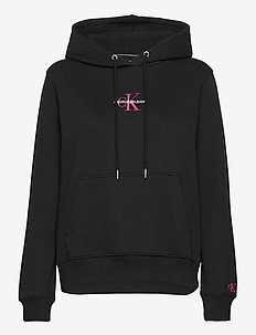 MONOGRAM LOGO HOODIE - hettegensere - ck black/party pink