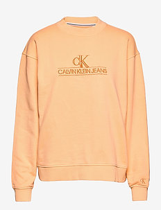 EMBROIDERY ECO WASH CREWNECK - sweatshirts et sweats à capuche - crushed orange