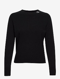 NECK LOGO FLUFFY SWEATER - gensere - ck black