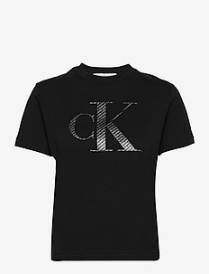 SATIN BONDED FILLED CK TEE - t-shirts - ck black/logo aop
