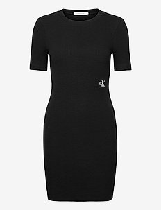 SLUB RIB 3/4 SLEEVES DRESS - zomerjurken - ck black