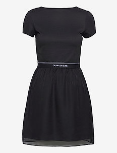 LOGO WAISTBAND DRESS - alltagskleider - ck black