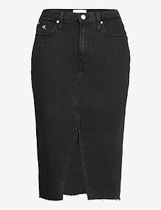 HIGH RISE MIDI SKIRT - jeansröcke - denim black