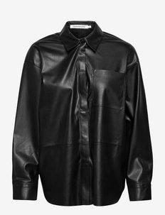 FAUX LEATHER OVERSHIRT - overshirts - ck black