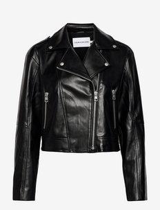 FAUX LEATHER BIKER JACKET - vestes en cuir - ck black
