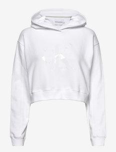 TONAL MONOGRAM HOODIE - sweatshirts & hættetrøjer - bright white