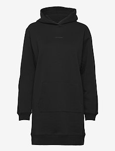 LOGO TRIM HOODIE DRESS - alltagskleider - ck black