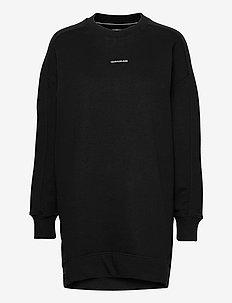 MICRO BRANDING CREW NECK DRESS - everyday dresses - ck black