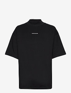 UNISEX MICRO BRANDING MOCK NECK - t-shirts & tops - ck black