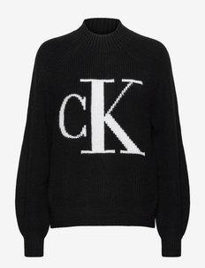 CK RAGLAN SWEATER - jumpers - ck black/bright white