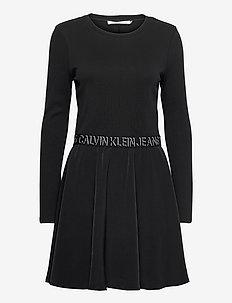 LOGO ELASTIC DRESS - tshirt jurken - ck black/ck black
