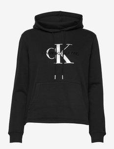 GLOSSY MONOGRAM HOODIE - sweatshirts et sweats à capuche - ck black