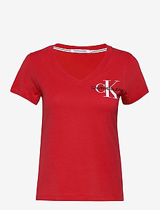SS V NECK MONOGRAM TEE - t-shirty - racing red