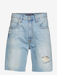 STRAIGHT SHORT - denim shorts - painters blue raw