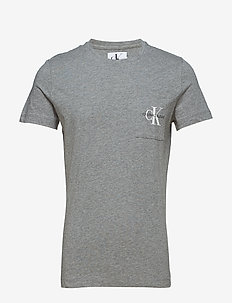 MONOGRAM POCKET SLIM SS TEE - GREY HEATHER
