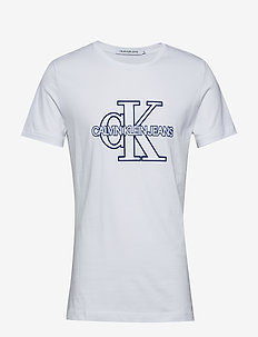 CK MONOGRAM FRONT LOGO SLIM SS - BRIGHT WHITE / SURF THE WEB