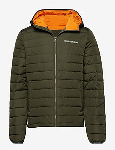 PADDED HOODED JACKET - GRAPE LEAF/ORANGE
