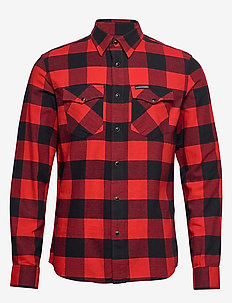 FLANNEL WESTERN  CHECK REG SHIRT - RACING RED / BLACK