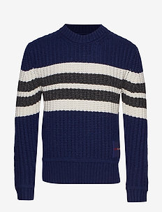 STRIPE FRONT CN SWEATER - MEDIEVAL BLUE