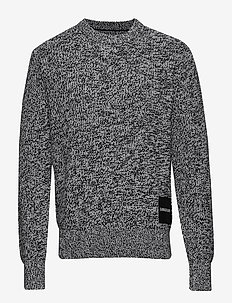 CARDIGAN STITCH CN SWEATER - BRIGHT WHITE / BLACK