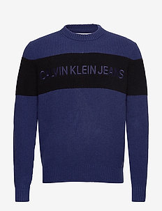 COLOUR BLOCK STRIPE CN SWEATER - MEDIEVAL BLUE