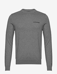 INSTIT CHEST LOGO CN SWEATER - MID GREY HEATHER