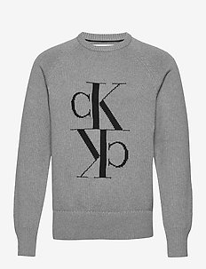 MIRRORED MONOGRAM CN SWEATER - knitted round necks - mid grey heather / black