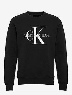 ICONIC MONOGRAM CREWNECK - swetry - ck black