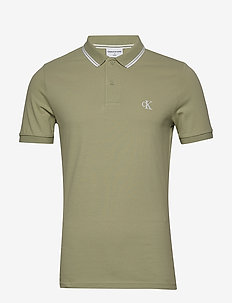CK ESSENTIAL TIPPING SLIM POLO - korte mouwen - earth sage/white