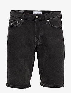 SLIM SHORT - denim shorts - da119 black with embro