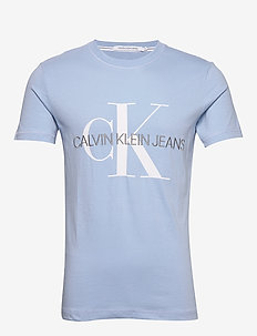 VEGETABLE DYE MONOGRAM SLIM TEE - short-sleeved t-shirts - chambray blue